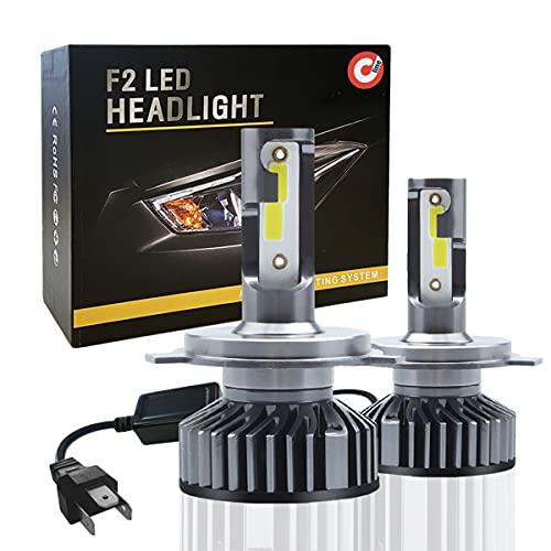 Coppia di Lampadine H4 LED 10000LM, Kit Lampada Sostituzione per Alogena Lampade e Xenon Luci, Fari Abbaglianti e Anabbaglianti per Auto, 12V 6000K Bianco - DEVCOline - AR FL 00H4