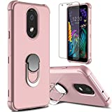 lovpec LG Aristo 4 Plus Case with Soft TPU Screen Protector, Case for LG Escape Plus/LG Arena 2/LG Prime 2/LG Tribute Royal/LG K30 2019, Ring Magnetic Holder Kickstand Protective Phone Case (Pink)