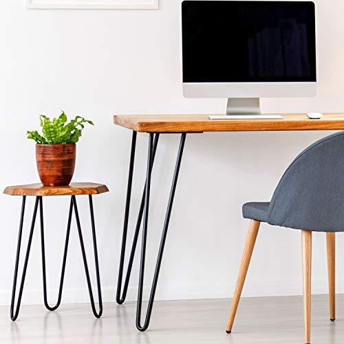 4x Haarnadel Tischbeine Möbelfuß Tischgestell Hairpin Leg Möbelfüße| SCHWARZ MATT | Höhe 40cm |2 Streben Ø 12 mm|Schalldämmung | inkl. Anti-Rutsch-Bodenschoner + Schrauben STAHLIA®