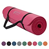 Gaiam Essentials Thick Yoga Mat Fitness & Exercise Mat With Easy-Cinch Yoga Mat Carrier Strap (72'L X 24'W X 2/5 Inch Thick)
