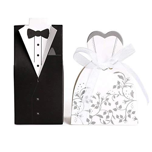 JZK® 100 x Cajas de boda nupcial del diseño del vestido Novio Novia Una caja de regalo caja de regalo Caja de chocolate Cartón Decoración de la boda Decoración de la boda Decoración de la tabla del bautismo (Color B)