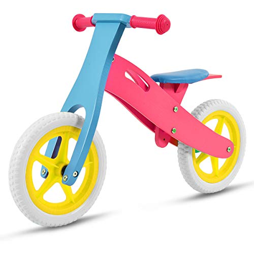 Costzon 12' Wooden No-Pedal Balance Bike Classic Bicycle for Kids from Age 2-5 w/Adjustable Seat (Pink), 32.5' L x 13.5' W x 22.4' H (FWAM-00802)