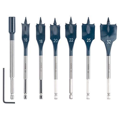 Bosch Professional Set De 7 Brocas Fresadoras Planas Self Cut Speed Con Vástago Hexagonal De 1/4' Y Alargador