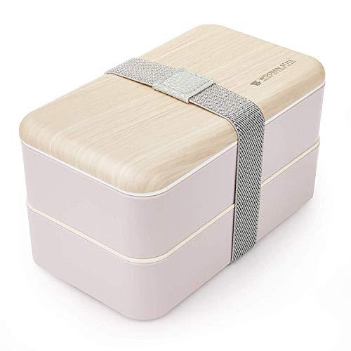 Thousanday Fiambrera Bento Bambú Rosado   Tupper Design con 2 Cubiertos   Bento Box 2...