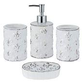 JOTOM Juego de 4 Accesorios de Baño de Cerámica con Diseño Moderno (Blanco A)
