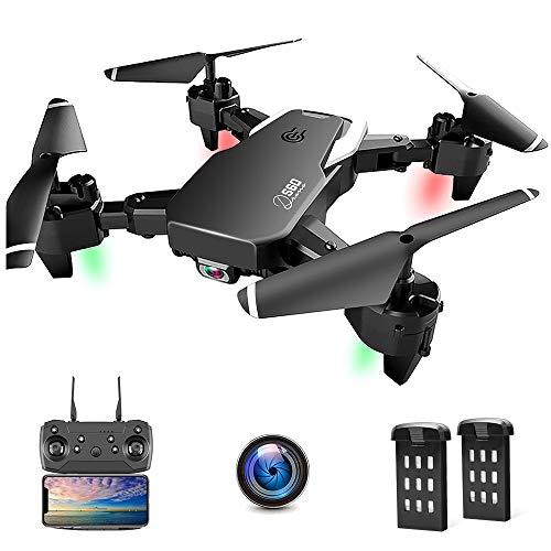 Drone con Telecamera, Droni per Principianti, 1080P HD Pieghevole Drone con WiFi FPV, 30 Minuti di Volo (2 Akku), Headless Mode, modalità Hovering, 3D Flip, Atterraggio di Emergenza (App/Telecomando)
