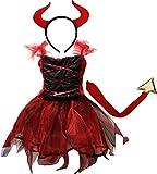 Petitebella Halloween Costume Dress 2-12y (7-9 Years, Red Devil)