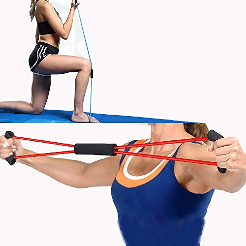 Sidhmart Rubber 8 Shape Resistance Band Pull Rope Toning Tube for Workout Exercise for Men and Women (Red)