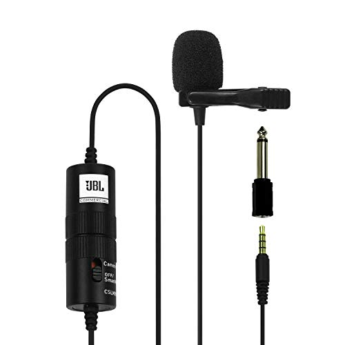 JBL Commercial CSLM20B Omnidirectional Lavalier Microphone with Battery for Content Creation, Voice...