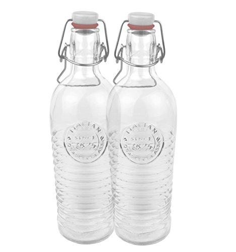 Bormioli 2er Set Glasflasche Officina 1825 - geriffelte 1,2 Liter Flasche mit Bügelverschluss und Relief Verzierung