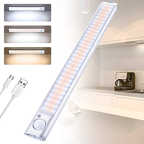 AiQInu Ricaricabile Led Sottopensile, 120 LED Luce Armadio, Dimmerabile con Regolabile Luci Armadio,Striscia Magnetica Adesiva Luce per Armadio, Scale, Corridoio, Cucina, Garage