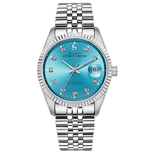 BUREI Luxus Herrenuhr mechanische Automatik Armbanduhr 24 Dial Analog Display Automatikuhr Lederband Edelstahlarmband Wasserdicht Stylish Armbanduhren (Blau)