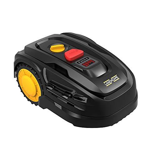 LANDXCAPE Robot Tondeuse sans Fil 300m²LX799, Système de Coupe/Mulching à 3 Lames, Tondeuse à Gazon Connectée, Détecteur de Choc, Charge Latérale Affichage Numérique