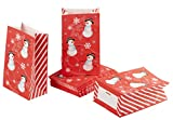 Party Treat Bags - 36-Pack Gift Bags, Christmas Party Supplies, Paper Favor Bags, Recyclable Goody Bags for Kids, Snowman Design, 5.1 x 8.7 x 3.2 Inches