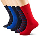 Tommy Hilfiger TH Men Sharp Stripes GIFTBOX 5P Chaussettes, Bleu (Tommy Original 085), 39/42 (Taille fabricant:039) (Lot de 5 Homme