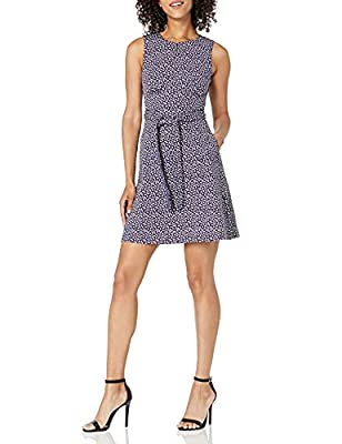This sleeveless A-line dress has a crew neck with slit, grosgrain ribbon detail belt, side seam pockets and a slightly flared skirt It is made in a stretch fabric. The band at the waist, and gathers under the bust create the perfect figure flattering...