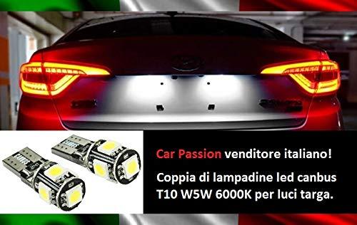 Coppia Luci Targa Led CANBUS T10 W5W 6000K 5 Led Lampadine NO ERRORE