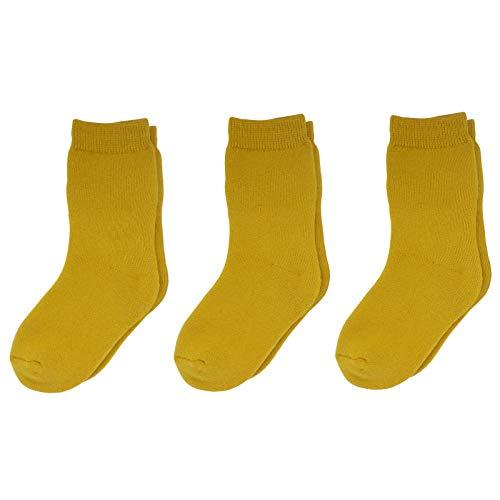 SAYOYO 3 paia di calzini per neonati di lunghezza media, colore puro, calzini per neonati, traspiranti, morbidi e in spugna, Ingwer-Vollfrottee, 18-24 Mesi