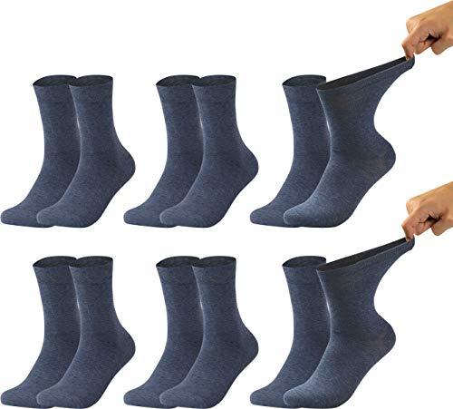 Vitasox 31035 calzini da uomo extra larghi in cotone, calzini sanitari sensibili completamente privi di gomma e di cuciture, pacco da 6, denim, 47/50
