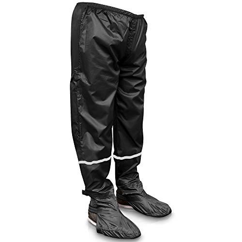 Rainrider Regenhose für Damen/Herren (schwarz) wasserdicht inkl. einfaltbare Schuhüberzieher, Regenfeste Fahrradbekleidung geeignet zum Wandern, Angeln oder Gartenhose (Schwarz mit Reflektor M)