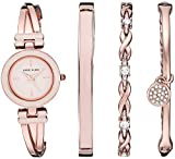 Anne Klein Women's AK/3284LPST Blush Pink and Rose Gold-Tone Bangle Watch and Premium Crystal Accented Bracelet Set