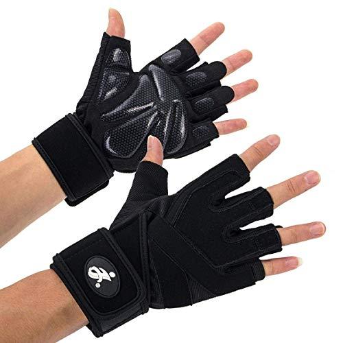 Opard Fitness Handschuhe Trainingshandschuhe mit Silica Gel Grip und Lange Adjustable Handgelenkstütze für mehr Leistung bei Gewichtheben und Bodybuilding Damen Herren (M)
