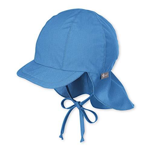 Sterntaler Schirmmütze mit Bindebändern und Nackenschutz, Alter: 12-18 Monate, Größe: 49, Blau (Samtblau)