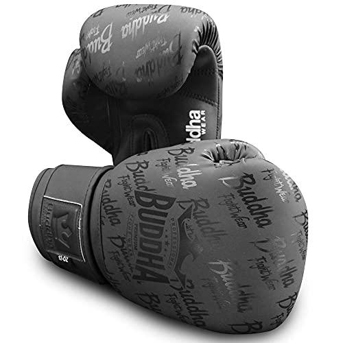 Buddha Fight Wear. Guantes de Entrenamiento y Combate, Special Edition, Fabricados a Mano, Boxeo, Muay Thai, Kick Boxing y MMA Modelo Top Premium Negro Mate 14 Onzas