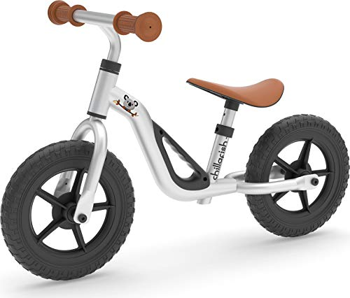 Chillafish Charlie Lightweight Toddler Balance Bike, Cute Balance Trainer for 18-48 Months, Learn to Bike with 10' inch no-Puncture Wheels, Adjustable seat and Carry Handle., Silver
