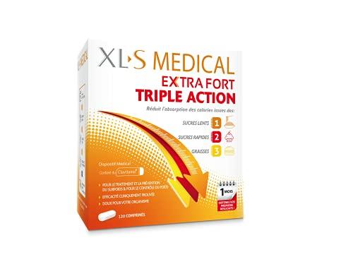 XL-S MEDICAL Extra Fort Triple Action – Une aide à la perte de poids efficace (1) – Réduit l'absorption des calories issues des sucres et des graisses – Boîte de 120 Comprimés pour 1 mois