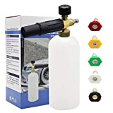 Twinkle Star Foam Cannon 1 L Bottle Snow Foam Lance With 1/4' Quick Connector, 5 Spray Nozzle Tips for Pressure Washer