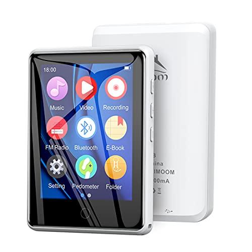 Timoom M6 Lecteur MP3, Baladeur Mp4 Bluetooth 32Go 2.8 Pouces Ecran Tactile Complet, Haut-Parleur Musique Audio HiFi Extensible jusqu'à 128Go de Radio FM Podomètre Intelligent Enregistrements, Blanc