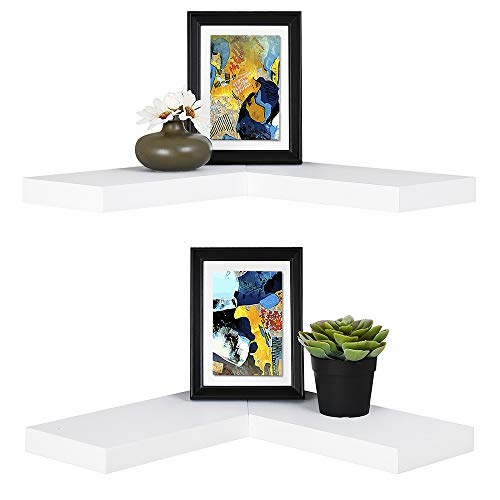 WELLAND Floating Corner Shelf Set of 2, White Wall Mounted Display Shelf with Concealed Hardware for Bedroom, Kids...