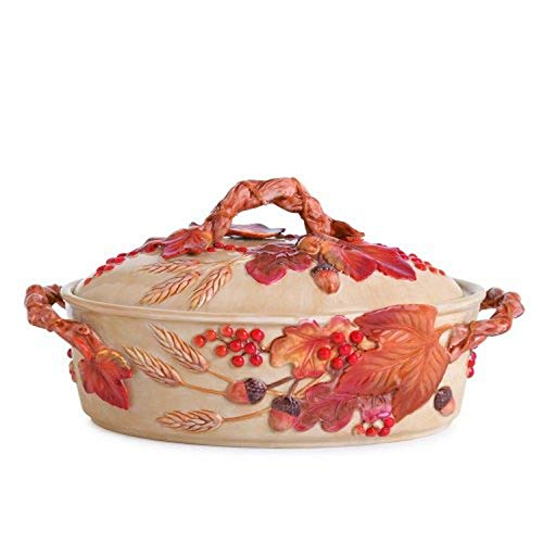 Fitz and Floyd Harvest Covered Serving Dish, Medium, Multicolored