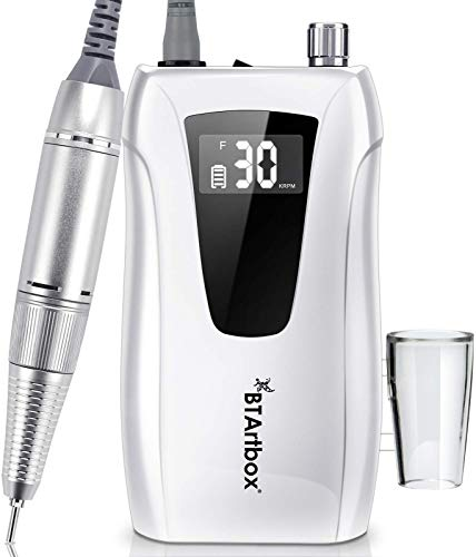 Cordless Nail Drill - Portable Efile Nail Drill, BTArtbox 30000RPM Nail Drill Machine Rechargeable Electric Professional Nail Drill for Acrylic Nails, Gift for Women Home and Salon Use