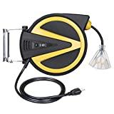 DEWENWILS Retractable Cord Reel, New Slow Auto Return Technology, 50FT-Heavy Duty Electric Cord Reel, 14/3AWG SJTW, Lighted Triple Tap Outlets, 13 Amp Circuit Breaker, Ceiling/Wall Mount, ETL Listed