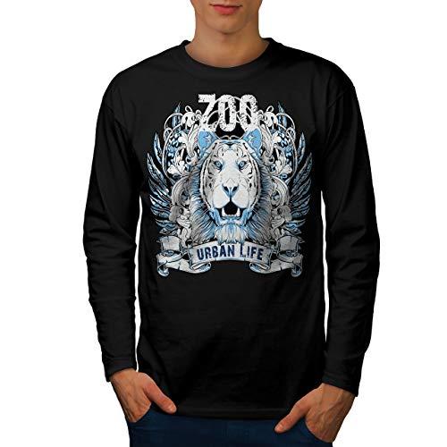 Urban Life Lion Animal Mens Long Sleeve T-Shirt, Zoo Graphic Design XXL