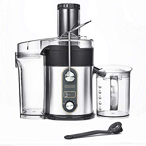 CRUX Easy to Clean 5-Speed Digital Juicer with 5 Custom Settings & Juice Jar with Frother Separator