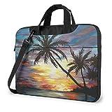 Funda para portátil con Pintura de Puesta de Sol Tropical, Bolso de Mano para Ordenador de 15,6 Pulgadas, maletín de Mensajero de Hombro para Viajes de Negocios