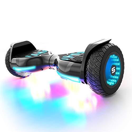 Swagtron Swagboard Warrior XL Off-Road Bluetooth Hoverboard w/ 8-inch Infinity Wheels, Black/Blue