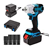 byhui 20V Cordless Impact Wrench, 1/2-Inch Square Drive Electric Impact Wrench, Power Impact Wrench with Fast Charger, Socket Adapters and Tool Case Set