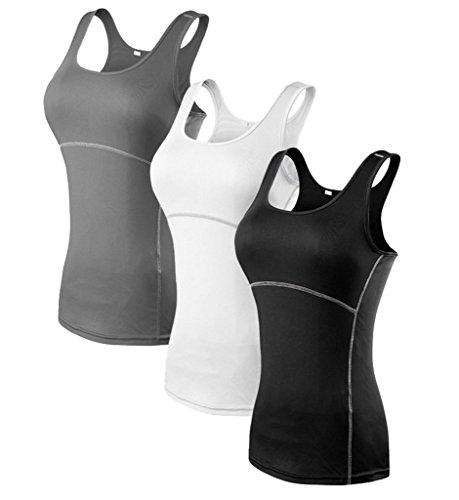 YR.Lover.sport YR.Lover Damen 3er Pack Dry Fit Kompression Running Yoga Tank Top T-Shirt, S, 3er Pack, S, 3er Pack;schwarz.grau.weiß