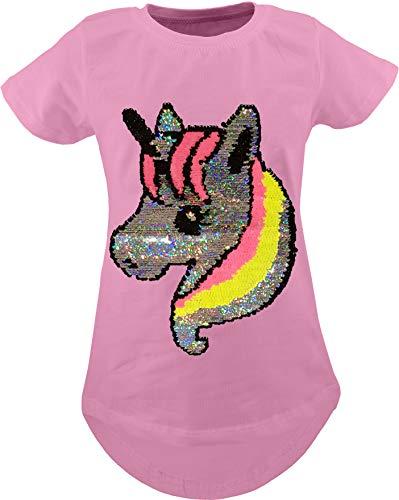 Unbekannt Camiseta Infantil, diseño de Alpaca, Unicornio, con Lentejuelas - 146 cm-152 cm - Einhorn Rosa