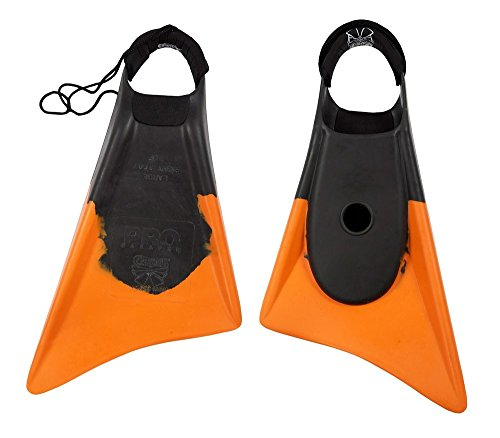 Churchill Makapuu PRO Floating Fins | Comfortable Fit Fins | Tether & Ankle Strap Included | Patented Dolphin Tail Swimfins | Made of 100% Natural Gum Rubber | Swimming, Surfing (Medium/Large)