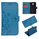 Wallet Case for Samsung Galaxy J7, Leather Wallet Case Magnetic Closure Kickstand Flip Folio Shockproof Embossed Butterfly Flower Cover with Credit Card Slots +Wrist Strap for Samsung Galaxy J7(Blue)