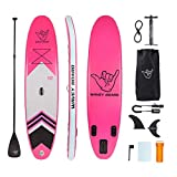 WAVEY BOARD Inflatable 10' Stand Up Paddle Board Premium SUP Bundle   Includes Board (6' Thick), Pump, Adjustable Paddle, Easy Transport Backpack, SUP Accessories   Non-Slip Deck, Pink, PK610