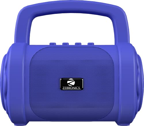Zebronics Zeb-County 3 Portable Wireless Speaker Supporting Bluetooth v5.0, FM Radio, Call Function, Built-in Rechargeable Battery, USB/Micro SD Card Slot, 3.5mm AUX Input, TWS (Blue)
