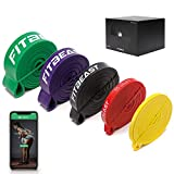FitBeast Resistance Bands Pull Up Assist Bands Set, 5 Different levels Exercise Workout Bands for Powerlifting, Muscle Toning, CrossFit, Yoga, Stretch Mobility, Strength Training for Men and Women