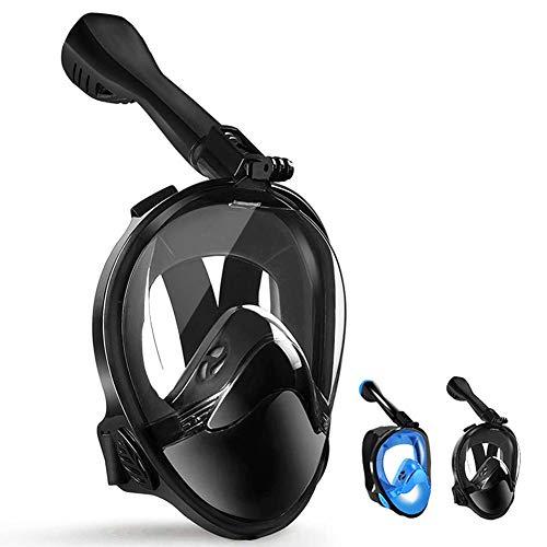 LBHMEI Tauchmaske Vollgesichtsmaske mit 180°Sichtfeld,Vollmaske Schnorchelmaske Tauchmaske mit Kamerahalterung, Anti-Fog Anti-Leck,Geeignet für Erwachsene und Kinder (Schwarz,L/XL)
