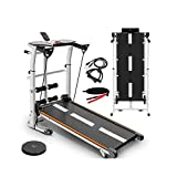 Home Mechanical Treadmill, Folding Shock Running Walking Machine,Supine, T-wisting, Draw Rope 4-in-1 Mechanical Treadmill,Non-Electric Treadmill, No Power Load 440Lbs US in Stock